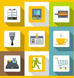 market service icons set flat style vector image