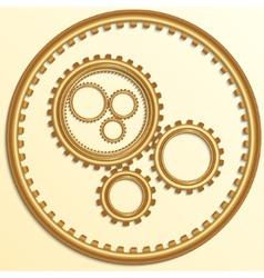 metallic golden gear wheels vector image
