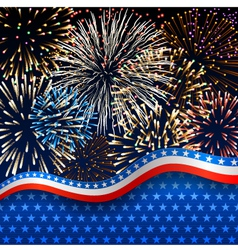 Patriotic background with fireworks vector image vector image