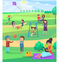 People relaxing outdoor in park colorful poster vector