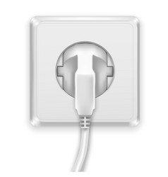 realistic white plug and socket vector image