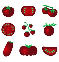 red color tomatoes simple icons set eps10 vector image