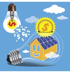 Saving money by the use of clean energy of the sun vector image