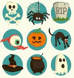Set of Halloween cartoon icons vector image vector image