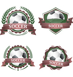 Set of soccer sport icons with ribbons laurel vector image vector image