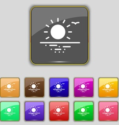sunset icon sign Set with eleven colored buttons vector image