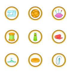 Tailor shop icons set cartoon style vector