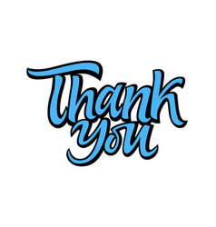 thank you - drawn brush lettering vector image