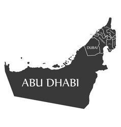 United arab emirates map labelled black vector