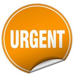 Urgent round orange sticker isolated on white vector