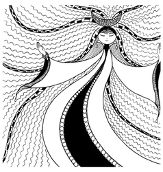 Woman moon graphic arts zentangl vector