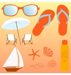 Beach set items for a holiday vector