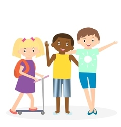 Children friends three friends leisure time vector