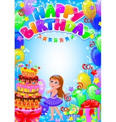 Happy birthday girl card with place for text vector