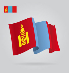 Mongolian waving flag vector