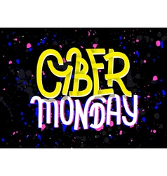 Cyber monday lettering with a glitch effect vector