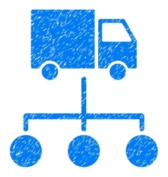Lorry distribution scheme grainy texture icon vector