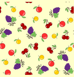 Seamless background with fruits-apples grapes and vector