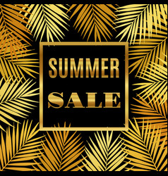 Summer sale background with gold palms vector