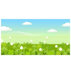 Field with clouded sky vector