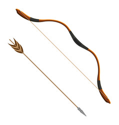 Bow and arrow realistic of vector