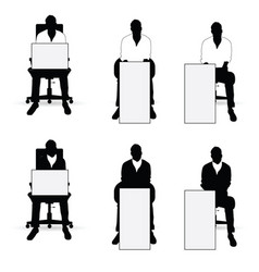 Man silhouette siting on chair with card vector
