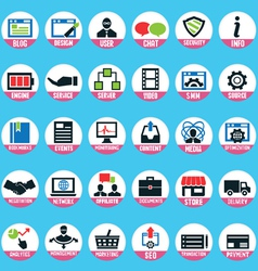 Set of pixel internet marketing service icons vector
