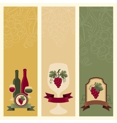 Vertical banners with grapes and wine vector
