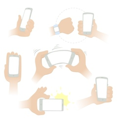 Hands with a smartphone vector