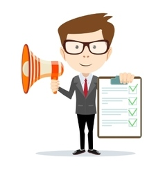 Businessman holding the document approved and vector