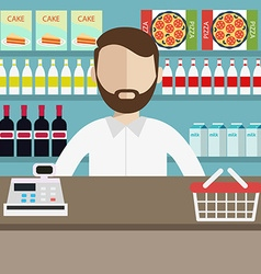 A young cashier man standing in supermarket vector