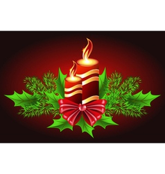 Christmas burning candle vector