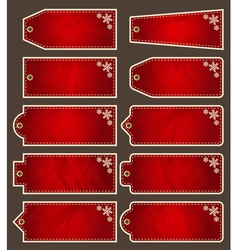 Set of special red paper labels for christmas vector