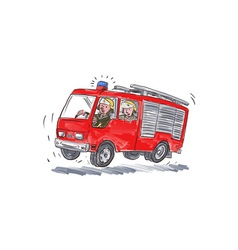 Red fire truck fireman caricature vector