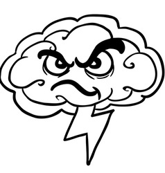 Black and white angry storm cloud vector