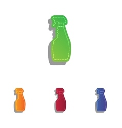 Plastic bottle for cleaning colorfull applique vector
