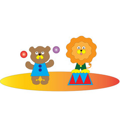 a circus show of a bear and a lion vector image vector image