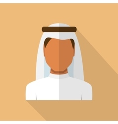 Arabic man in traditional muslim hat vector