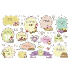 Bakery Labelsbadges setwith cakesVintage doodles vector image