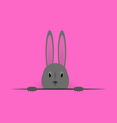 Beautiful easter hare on pink background vector