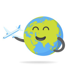 Cheerful earth with plane vector