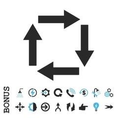 Circulation arrows flat icon with bonus vector
