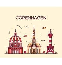 Copenhagen skyline trendy linear style vector