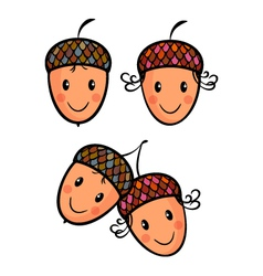 Cute cartoon acorns vector