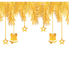 Gold garland with bells and stars hanging vector