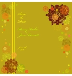 Golden wedding frame with yellow and pistachio vector