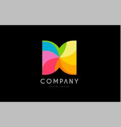 h rainbow colors logo icon alphabet design vector image vector image
