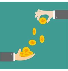 Hands giving four leaf clover gold coin flat desig vector