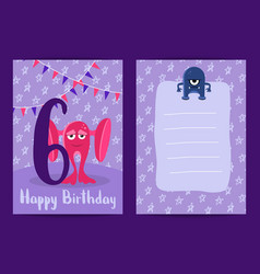 happy birthday card with cute cartoon vector image vector image