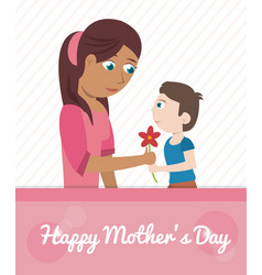 Happy mothers day card - son giving flower vector